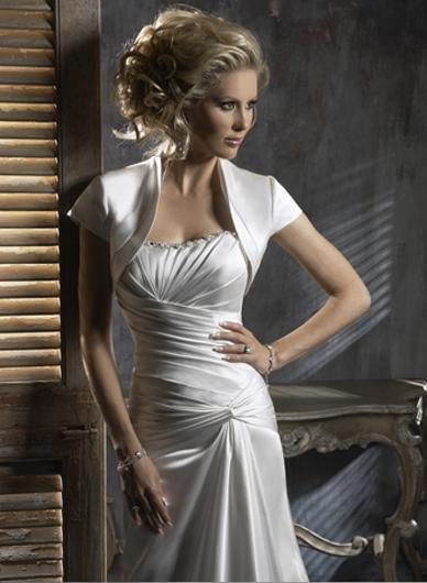 Scoop Neckline Strapless Custom-made Wedding Dress