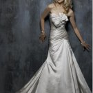 Custom-made A-line Lace-up Taffeta Wedding Dress