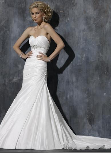 Custom-made Mermaid Sweetheart Neckline Strapless Beaded Lace-up Taffeta Wedding Dress