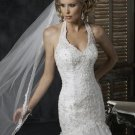 Mermaid Halter Appliqued Beaded Satin and Tuller Custom made Wedding Dress