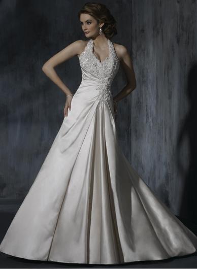 Sexy Backless Halter Appliqued Beaded Custom made Taffeta Wedding Dress