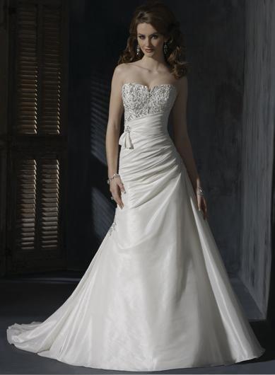 A-line Strapless Appliqued Beaded Custom made Taffeta Wedding Dress