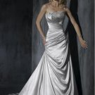 Scoop Neckline Appliqued Beaded Strapless Wedding Dress