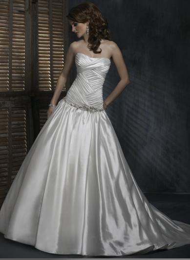 Custom made Ball Scoop Neckline Strapless Beaded Taffeta Wedding Dress