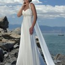V Neckline Appliqued Beaded Chiffon Bridal Gown