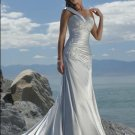 One Shoulder Appliqued Beaded Satin Wedding Dress Bridal Gown
