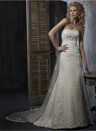 A Line Appliqued Beaded Strapless Wedding Dress Bridal Gown