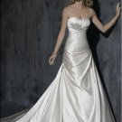 Scoop Neckline Beaded Lace-up Taffeta Wedding Dress Bridal Gown