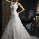 Halter Appliqued Beaded Tuller Wedding Dress Bridal Gown