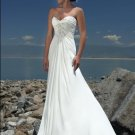 V-neckline Beaded Strapless Chiffon Wedding Dress Bridal Gown