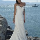 Sheath V-neckline Strapless Chiffon Wedding Dress Bridal Gown