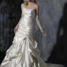 Scoop Neckline Appliqued Beaded Strapless Lace-up Taffeta Wedding Dress Bridal Gown
