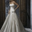 Ball Scoop Neckline Strapless Lace-up Taffeta Wedding Dress Bridal Gown