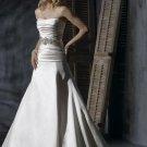 Scoop Neckline Beaded Satin Wedding Dress Bridal Gown