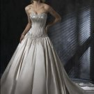 Ball Scoop Neckline Strapless Appliqued Beaded Train Taffeta Wedding Dress Bridal Gown
