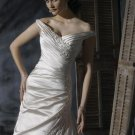 Off-shoulder V-neckline Appliqued Beaded Lace-up Taffeta Wedding Dress Bridal Gown