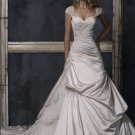 Sweetheart Cap Sleeve Appliqued Beaded Tuller and Taffeta Wedding Dress Bridal Gown