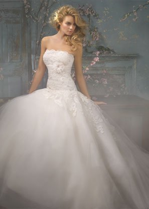 Ball Appliqued Beading Tuller Wedding Dress Bridal Gown