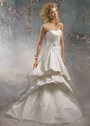 Backless Scoop Neckline Beading Taffeta Wedding Dress Bridal Gown