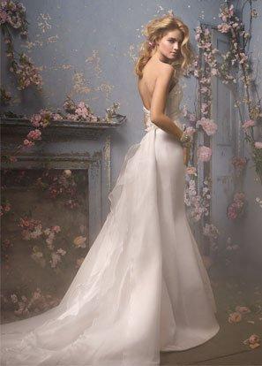 Sweetheart Backless Detachable Organza Train Wedding Dress Bridal Gown