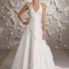 Halter Backless Taffeta Wedding Dress Bridal Gown