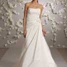 Scoop Neckline Strapless Backless Taffeta Wedding Dress Bridal Gown