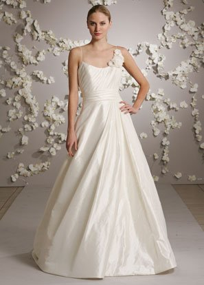 Sexy Spaghetti Strap Scoop Neckline Backless Taffeta Wedding Dress Bridal Gown