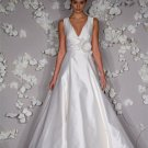 A-line V-neckline Taffeta Wedding Dress Bridal Gown