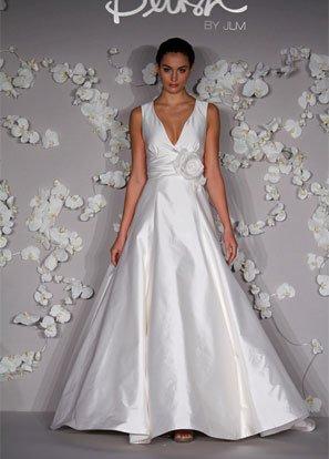 A-line V-neckline Taffeta Wedding Dress Bridal Gown