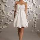 Backless Scoop Neckline Mini Wedding Dress Bridal Gown