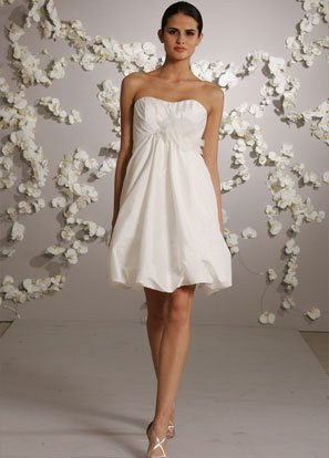 Backless Scoop Neckline Mini Wedding Dress Bridal Gown