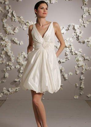 Mini V-neckline Taffeta Wedding Dress Bridal Gown