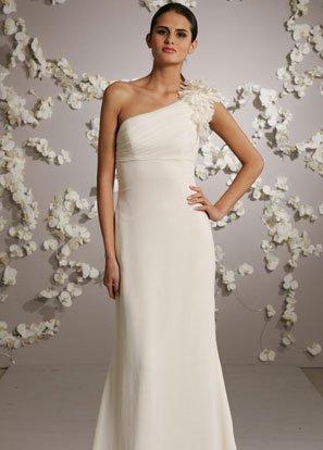 One Shoulder Chiffon Wedding Dress Bridal Gown