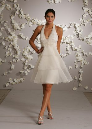 Tea-length Halter Backless Organza Wedding Dress Bridal Gown
