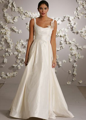 A-line Scoop Neckline Taffeta Wedding Dress Bridal Gown