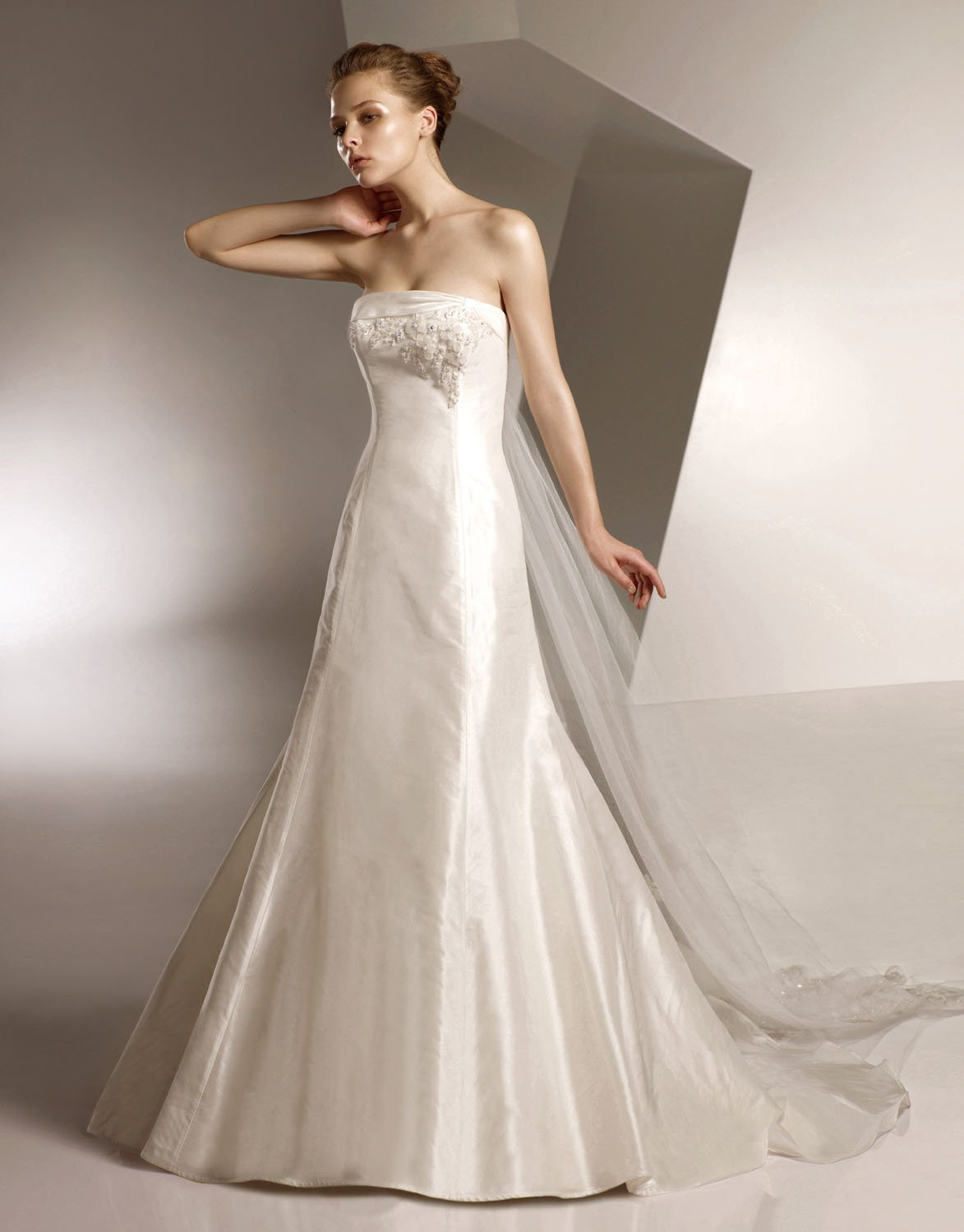 A-line Appliqued Beading Taffeta and Tuller Wedding Dress Bridal Gown