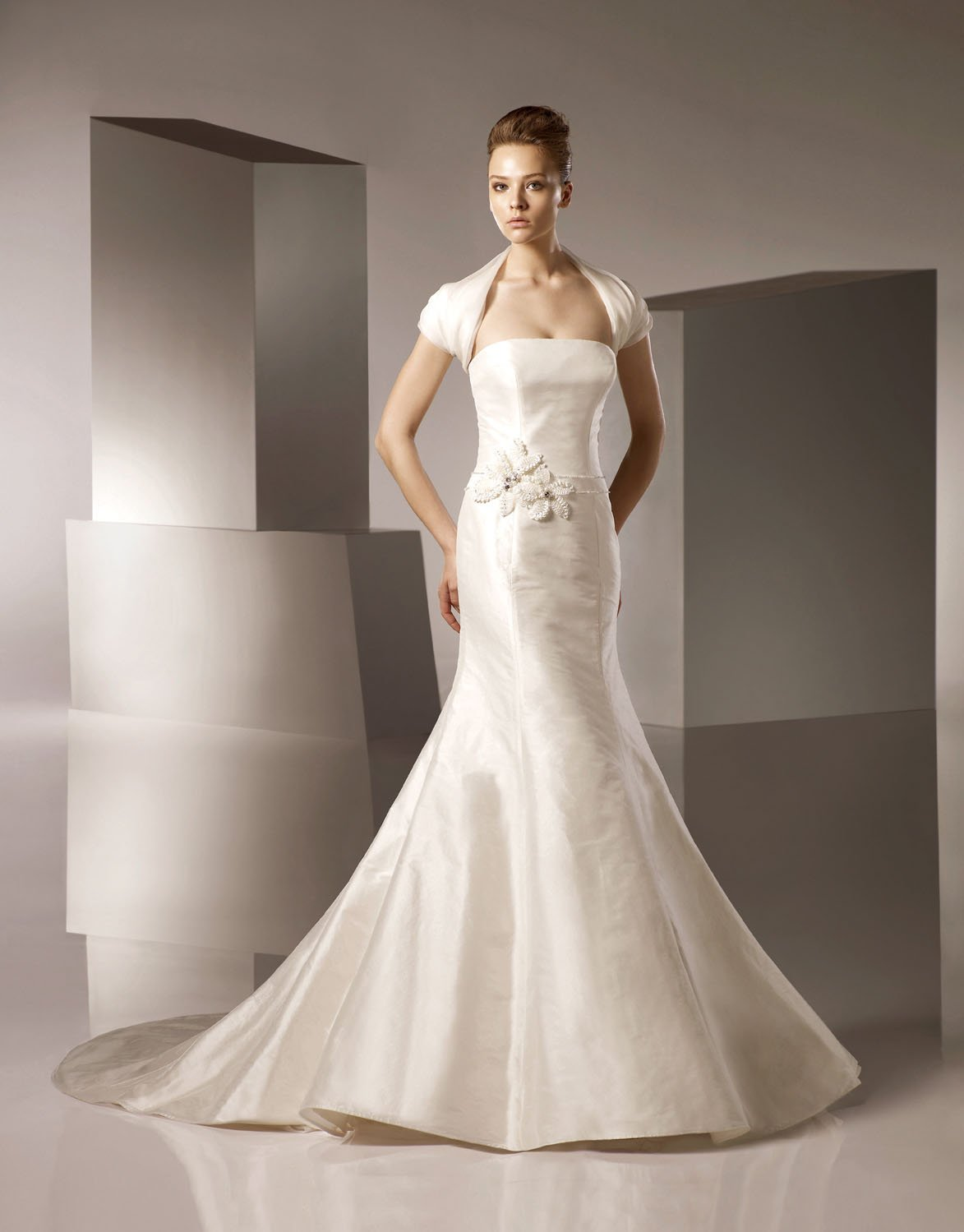 Mermaid Scoop Neckline Strapless Taffeta Wedding Dress Bridal Gown