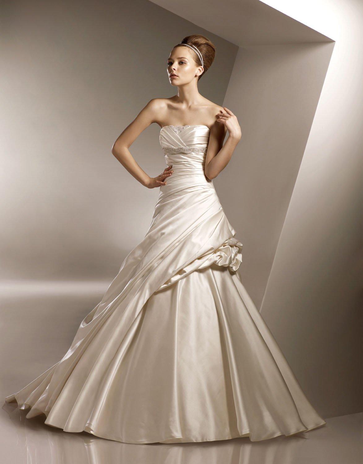 Straight Neckline Strapless Taffeta Wedding Dress Bridal Gown