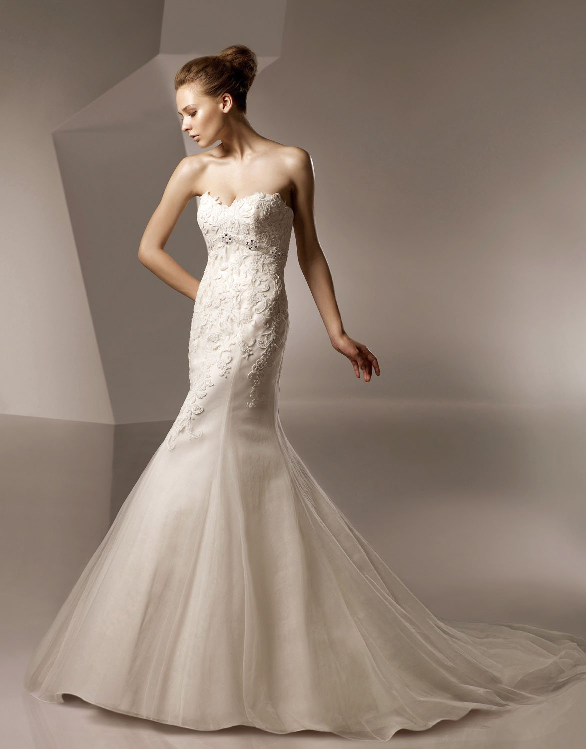 Sweetheart Mermaid Appliqued Beaded Taffeta Wedding Dress Bridal Gown