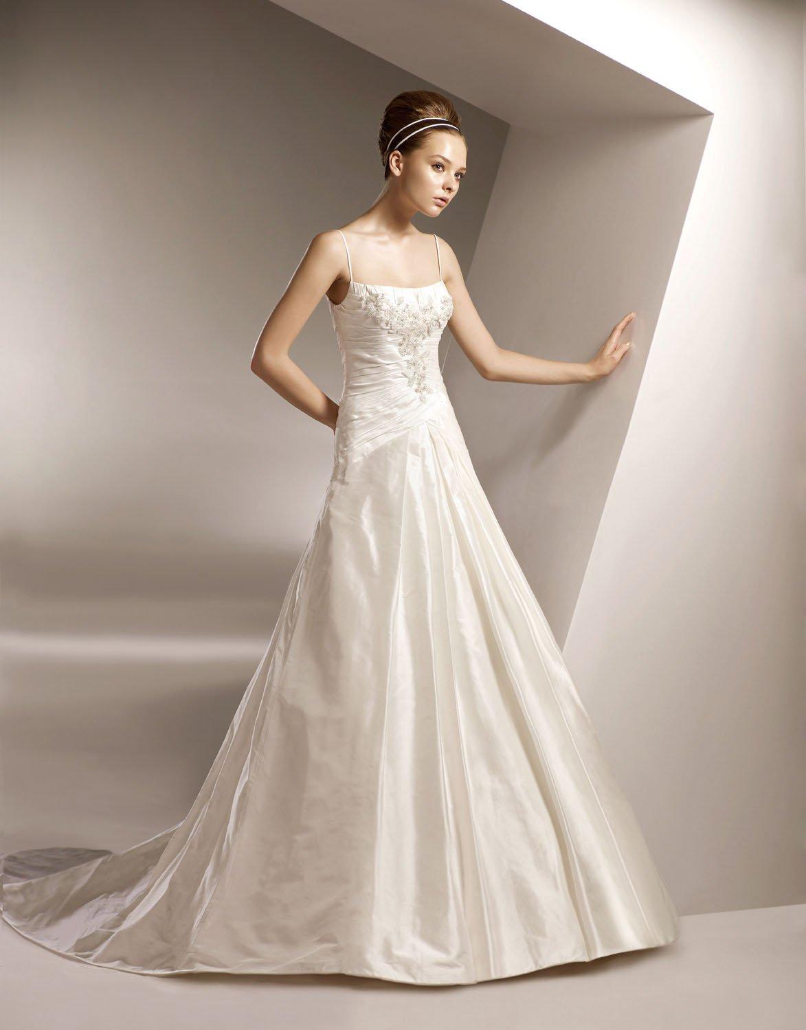 Spaghetti Strap Scoop Appliqued Beaded Taffeta Wedding Dress Bridal Gown