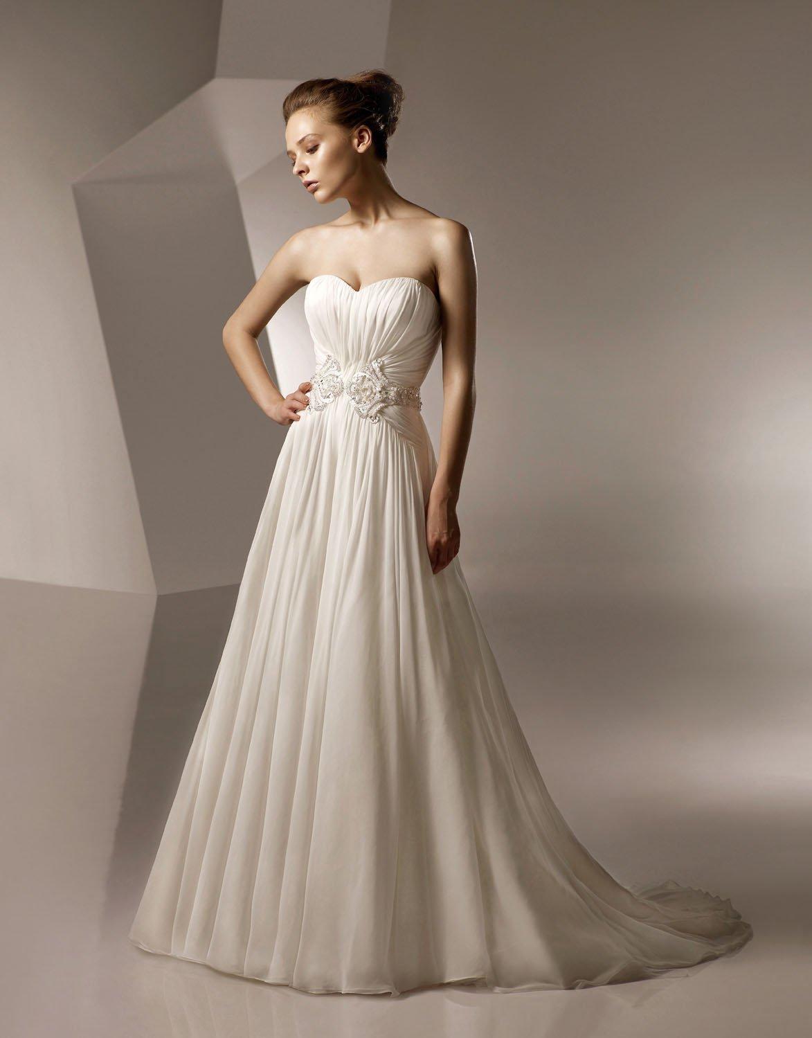 Sweetheart Neckline Chiffon Wedding Dress Bridal Gown