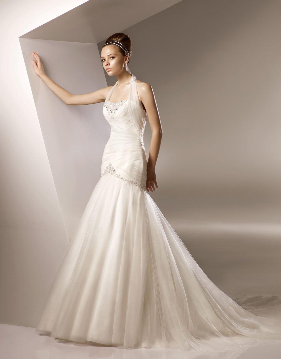 Halter Appliqued Beading Organza Train Wedding Dress Bridal Gown aq0026