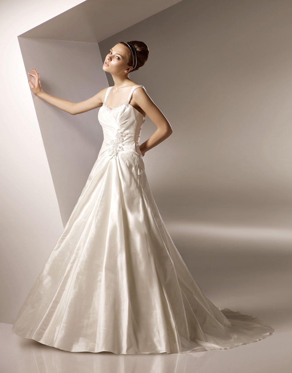 A-line Cap Sleeve Taffeta Wedding Dress Bridal Gown aq0027