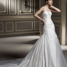 Sweetheart Strapless Beaded Train Taffeta Wedding Dress Bridal Gown aq0033