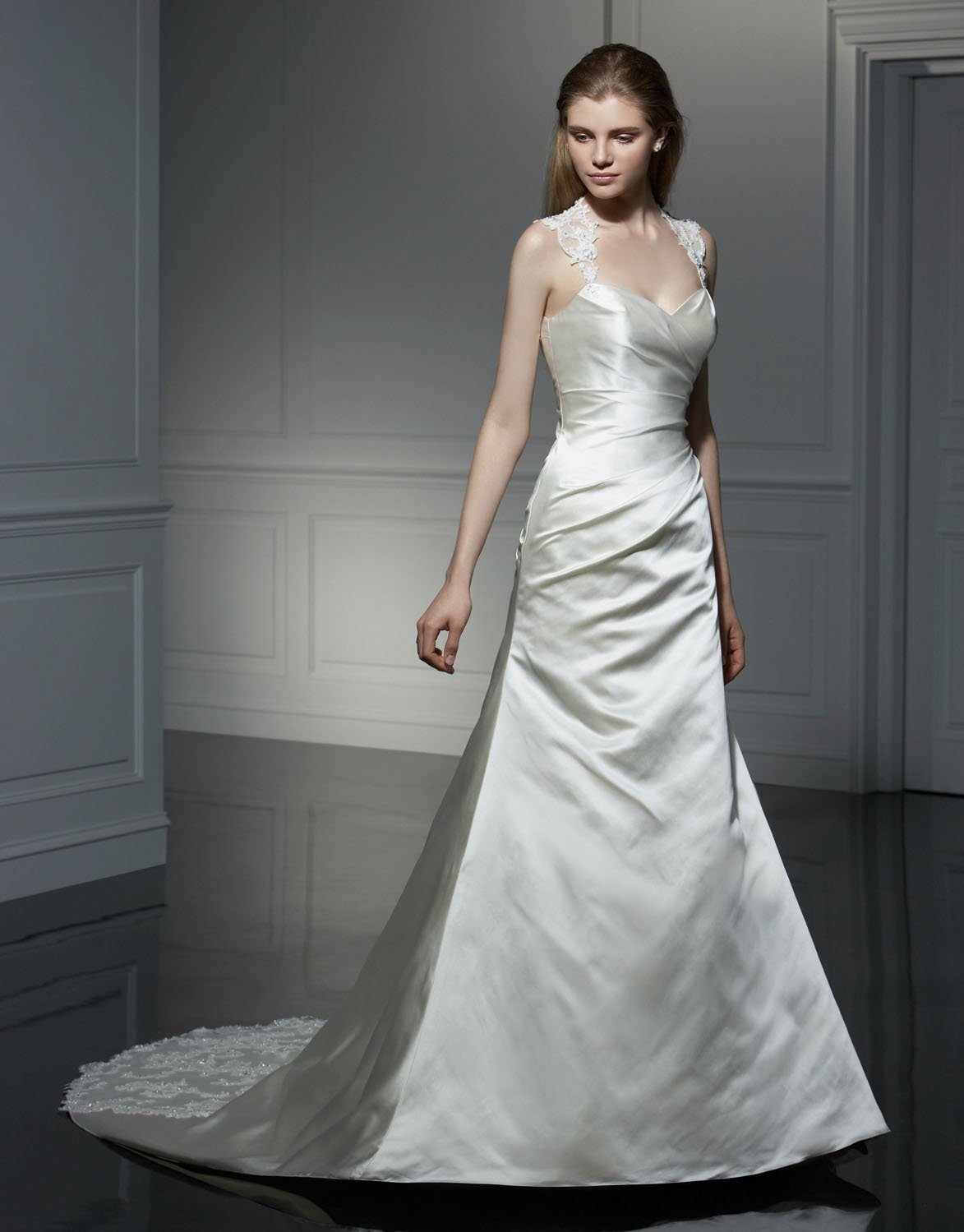 Sexy A-line V-neckline Appliqued Beading Taffeta Wedding Dress Bridal Gown aq0035