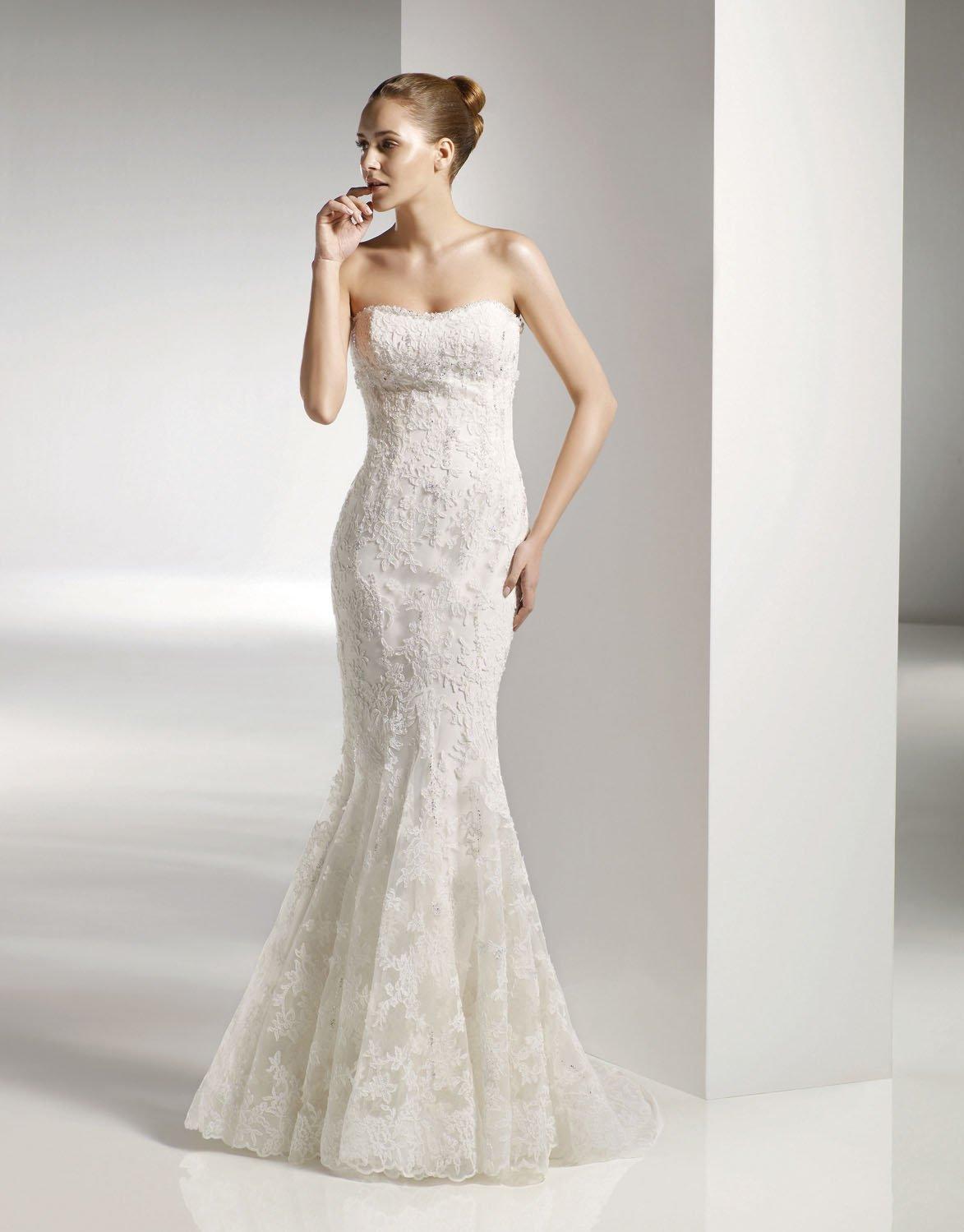Mermaid Scoop Neckline Appliqued Beading Wedding Dress Bridal Gown aq0038