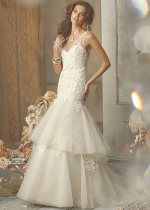 Mermaid V-neckline Appliqued Tuller and Satin Wedding Dress Bridal Gown JH007