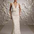 Sheath Deep V-neckline Lace Wedding Dress Bridal Gown JH008