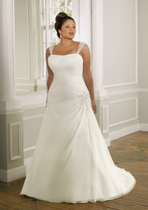 Removable Strap a-line Chiffon Plus Size Wedding Dress 2012