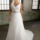 Cap sleeve Beading Chiffon Plus Size Wedding Dress 2012